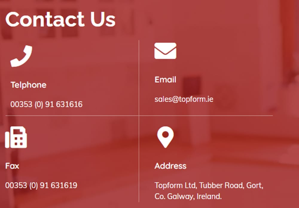 Contact Topform Worktops Ireland by email, phone, or fax